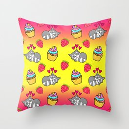Cute happy sleeping dreaming Kawaii baby raccoon, sweet red summer strawberries and colorful rainbow yummy cupcakes sunny bright yellow and raspberry pink design. Nursery decor. Throw Pillow