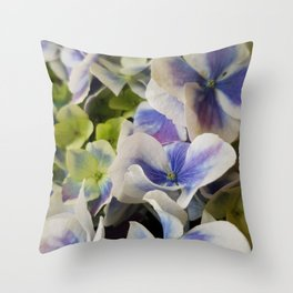 Hydrangea in Blue 3 - Close Up Like Butterflies Throw Pillow