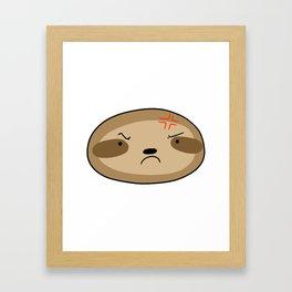 Angry Sloth Face Framed Art Print