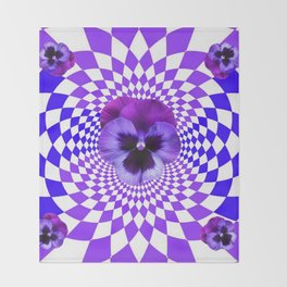 OPTICAL LILAC  PURPLE PANSIES GEOMETRIC ART Throw Blanket