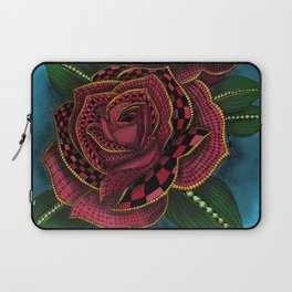 Zentangle Inspired Art- Tattoo Rose Colored Laptop Sleeve