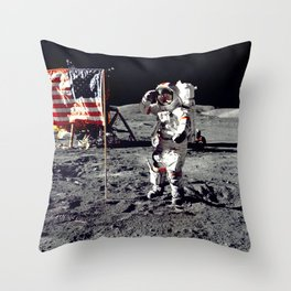 Salute on the Moon Throw Pillow
