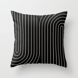Minimal Line Curvature - Black and White II Throw Pillow