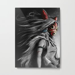 Miyazaki's Mononoke Hime Digital Painting the Wolf Princess Warrior Color Variation Metal Print