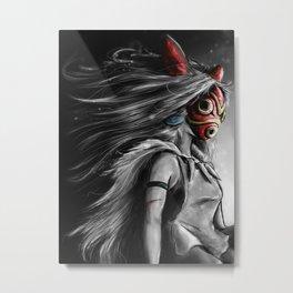 Miyazaki's Mononoke Hime Digital Painting the Wolf Princess Warrior Color Variation Metal Print