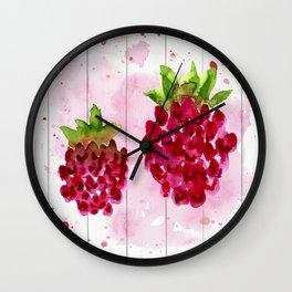 Watercolor Raspberries (3 of 4) Wall Clock