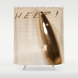 Pen Help Sepia Shower Curtain