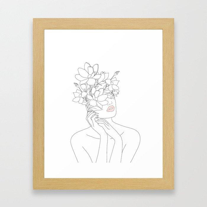 Minimal Line Art Woman with Magnolia Gerahmter Kunstdruck