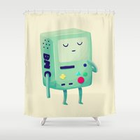 games Shower Curtains featuring Who Wants To Play Video Games? by Nan Lawson