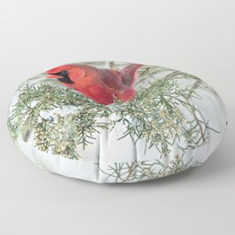 Cocky Cardinal Floor Pillow