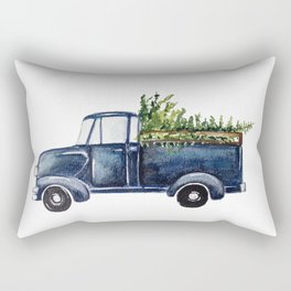 Blue Christmas Truck Rectangular Pillow