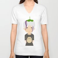 ghibli V-neck T-shirts featuring Fan Girl Ghibli by Creo tu mundo
