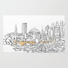 Modern and old Istanbul panorama drawing Rug