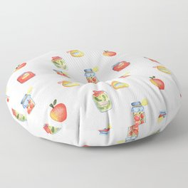 Autumn Seasonal Cooking Pattern With Honey, Jam and Preserves in Glass Jar Floor Pillow