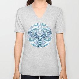 Lily, Leaf & Triangle Pattern – blues Unisex V-Neck