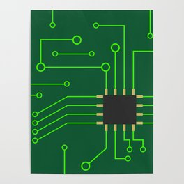 Microchip Pcb, tech print Poster