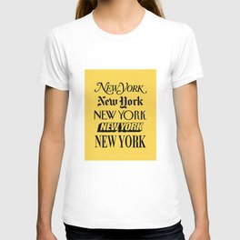 New York City Yellow Taxi and Black Typography Poster NYC T-shirt