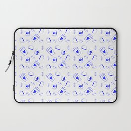 Bright Blue Coffee Pattern Laptop Sleeve