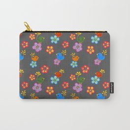 Silly Bird Floral on Grey Carry-All Pouch