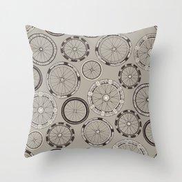 bike wheels stone Throw Pillow