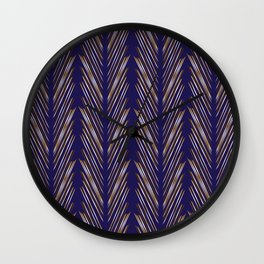 Navy Blue Wheat Grass Wall Clock