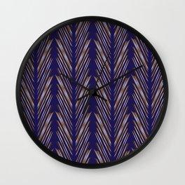 Navy Blue Wheat Grass Wall Clock