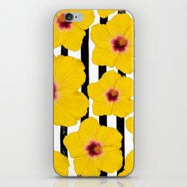Summer Hibiscus Fun on Black & White Stripes iPhone Skin