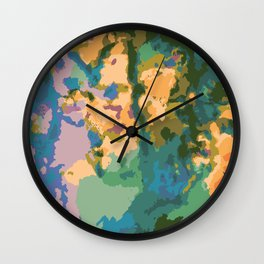 Summer Watercolor Pattern Wall Clock