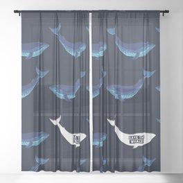 Save the Whales Sheer Curtain