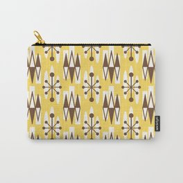 Retro Mid Century Modern Atomic Triangles 728 Brown and Yellow Carry-All Pouch