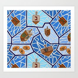 Hanukkah Dreidel Mosaic in Dark Blues Art Print