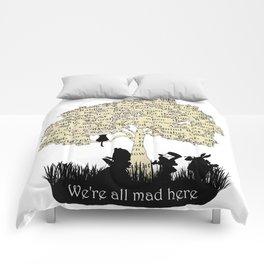 We're All Mad Here II - Alice In Wonderland Silhouette Art Comforters