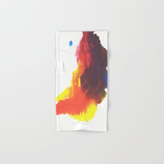 Yellow, Red, Blue, Purple Watercolor Plume on White Hand & Bath Towel
