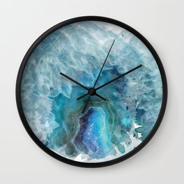 Blue Watercolor Agate Geode Print Wall Clock