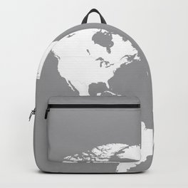 World Map Wanderlust Modern Travel Map in Gray With White Countries Backpack