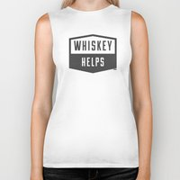 whiskey Biker Tanks featuring Whiskey Helps by gracerx