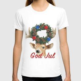 God Jul Deer with Christmas Wreath T-shirt