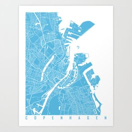 Copenhagen map blue Art Print