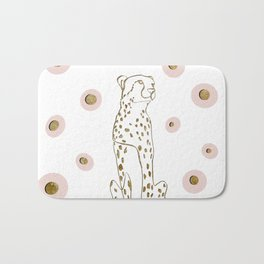 Cheetah one line drawing with dots in gold Bath Mat
