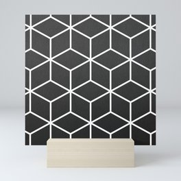 Charcoal and White - Geometric Textured Cube Design Mini Art Print