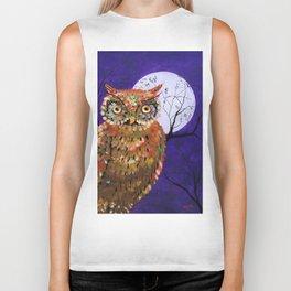 Owl, Owl Painting, Moon, Night Sky, Purple, by Faye Biker Tank