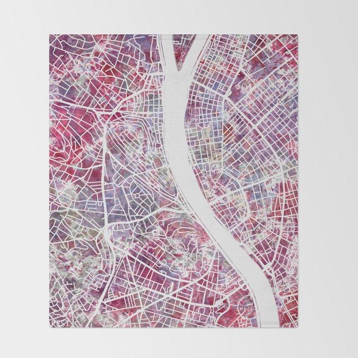 Budapest map Throw Blanket