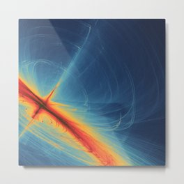 Blue and Orange Swirling Abstract Metal Print