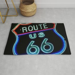 Route 66 neon sign Rug