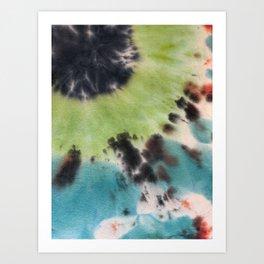 Blue Bullseye Tie Dye Art Print