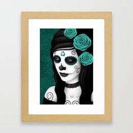 Day of the Dead Sugar Skull Girl with Teal Blue Roses Framed Art Print