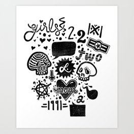 Girls and Moms Art Print