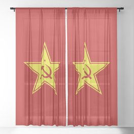 Red Star Hammer & Sickle Sheer Curtain