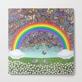 rainbow, butterflies, hedgehogs, & daisies Metal Print