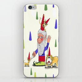 A gnome, two dogs, and a cat iPhone Skin
